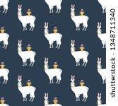 easter llama seamless pattern...   Shutterstock . vector #1348711340
