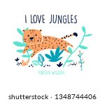 cute leopard hand drawing... | Shutterstock .eps vector #1348744406