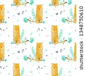 hand drawing leopard pattern... | Shutterstock .eps vector #1348750610
