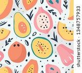 tropical fruits seamless...   Shutterstock .eps vector #1348757933