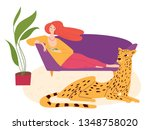 vector hygge illustration with... | Shutterstock .eps vector #1348758020