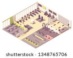 Stock vector vector isometric fitness club or gym interior cross section with fitness equipment and machines 1348765706