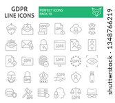 gdpr thin line icon set ... | Shutterstock .eps vector #1348766219