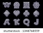 cartoon maya slots stone icons. ...