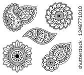 set of mehndi flower pattern... | Shutterstock .eps vector #1348771010
