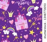 princess seamless pattern for... | Shutterstock .eps vector #1348773053