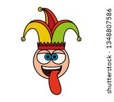 crazy emoticon face with jester ... | Shutterstock .eps vector #1348807586
