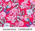 colorful pattern with birds and ... | Shutterstock . vector #1348816649