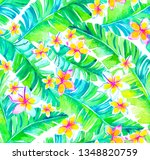 seamless watercolor tropical... | Shutterstock . vector #1348820759