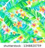 seamless watercolor tropical...   Shutterstock . vector #1348820759