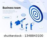 coworking team metaphor hitting ... | Shutterstock .eps vector #1348843100