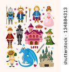 set of fairy tale element icons | Shutterstock .eps vector #134884313