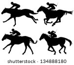 Stock vector editable vector silhouettes of racing horses with horses and jockeys as separate objects 134888180