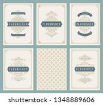 vintage ornament greeting cards ... | Shutterstock .eps vector #1348889606