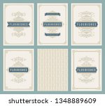 vintage ornament greeting cards ... | Shutterstock .eps vector #1348889609