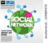 social networking conceptual... | Shutterstock .eps vector #134889470