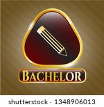 shiny badge with pencil icon... | Shutterstock .eps vector #1348906013