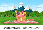 picnic in the mountains. wicker ... | Shutterstock .eps vector #1348913690
