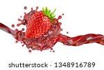 sweet fresh strawberry juice or ... | Shutterstock . vector #1348916789