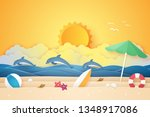 summer time   sea and beach... | Shutterstock .eps vector #1348917086