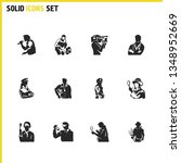 person icons set with cameraman ...