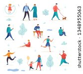 active man and woman with... | Shutterstock .eps vector #1348955063