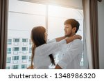 couples lover laying on bed... | Shutterstock . vector #1348986320