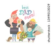 happy fathers day card. fathers ... | Shutterstock .eps vector #1349013029