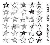 doodle star set  holiday design ... | Shutterstock .eps vector #1349018306