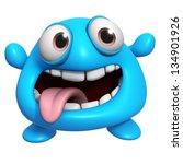 3d Cartoon Crazy Blue Monster
