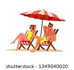 couple relaxing on beach flat... | Shutterstock .eps vector #1349040020