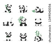 cute pandas flat vector color... | Shutterstock .eps vector #1349040056