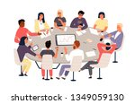 clerks or colleagues sitting at ... | Shutterstock .eps vector #1349059130