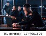 online conversation. team of... | Shutterstock . vector #1349061503