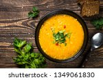 red lentil soup puree in black... | Shutterstock . vector #1349061830