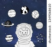 animals cat  in space  in a... | Shutterstock . vector #1349068610