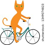 orange cat with green eyes on a ... | Shutterstock .eps vector #1349074823