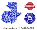 best service collage of blue... | Shutterstock .eps vector #1349076509