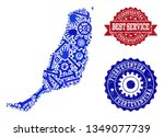 best service collage of blue... | Shutterstock .eps vector #1349077739