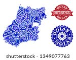 best service collage of blue... | Shutterstock .eps vector #1349077763