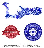 best service collage of blue... | Shutterstock .eps vector #1349077769