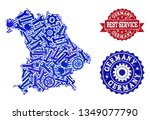 best service collage of blue... | Shutterstock .eps vector #1349077790