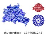 best service collage of blue... | Shutterstock .eps vector #1349081243