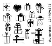 hand drawn gift boxes set... | Shutterstock .eps vector #1349096573