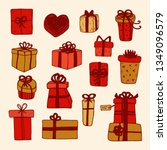 hand drawn gift boxes set... | Shutterstock .eps vector #1349096579