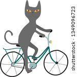 gray cat with yellow eyes on a... | Shutterstock .eps vector #1349096723
