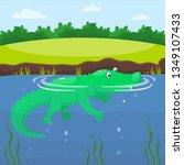 Crocodile In The Lake. Happy...