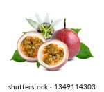 passion fruit with green leaf...   Shutterstock . vector #1349114303