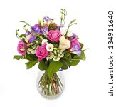 Stock photo bouquet of lilias and roses isolated on white 134911640
