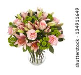 Stock photo bouquet of lilias and roses isolated on white 134911649
